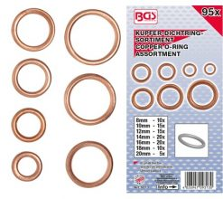 95-piece Copper O-Ring Assortment, Ø 6-20 mm