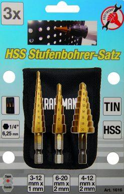 3 stk. sett HSS Þrepaborar, 3-20mm