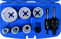 8-piece Holesaw Set, 22-65 mm ø, Depth 40 mm